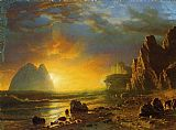Albert Bierstadt Sunset on the Coast painting