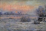 Claude Monet Winter Sun Lavacourt painting