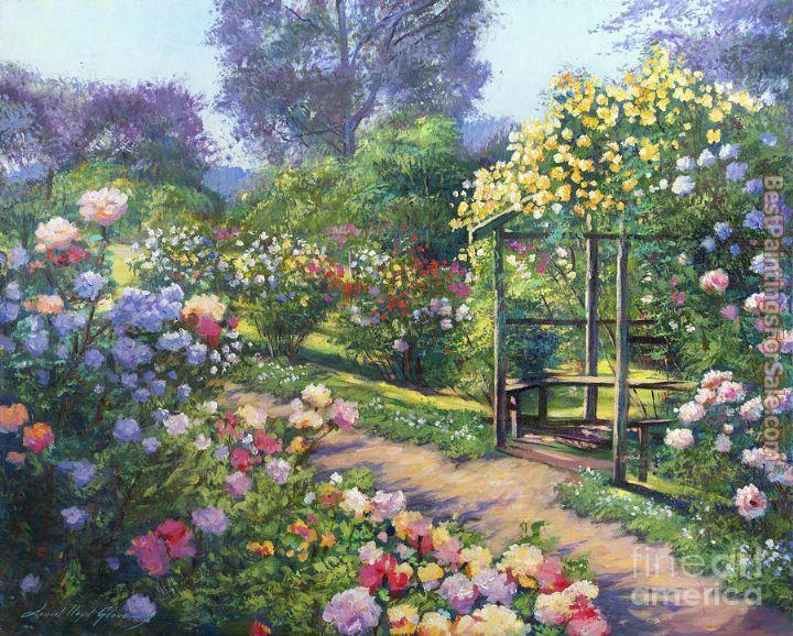 David lloyd glover an evening rose garden 50 off for Best paint for yard art