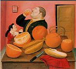 Fernando Botero Man drink Orange Juice painting