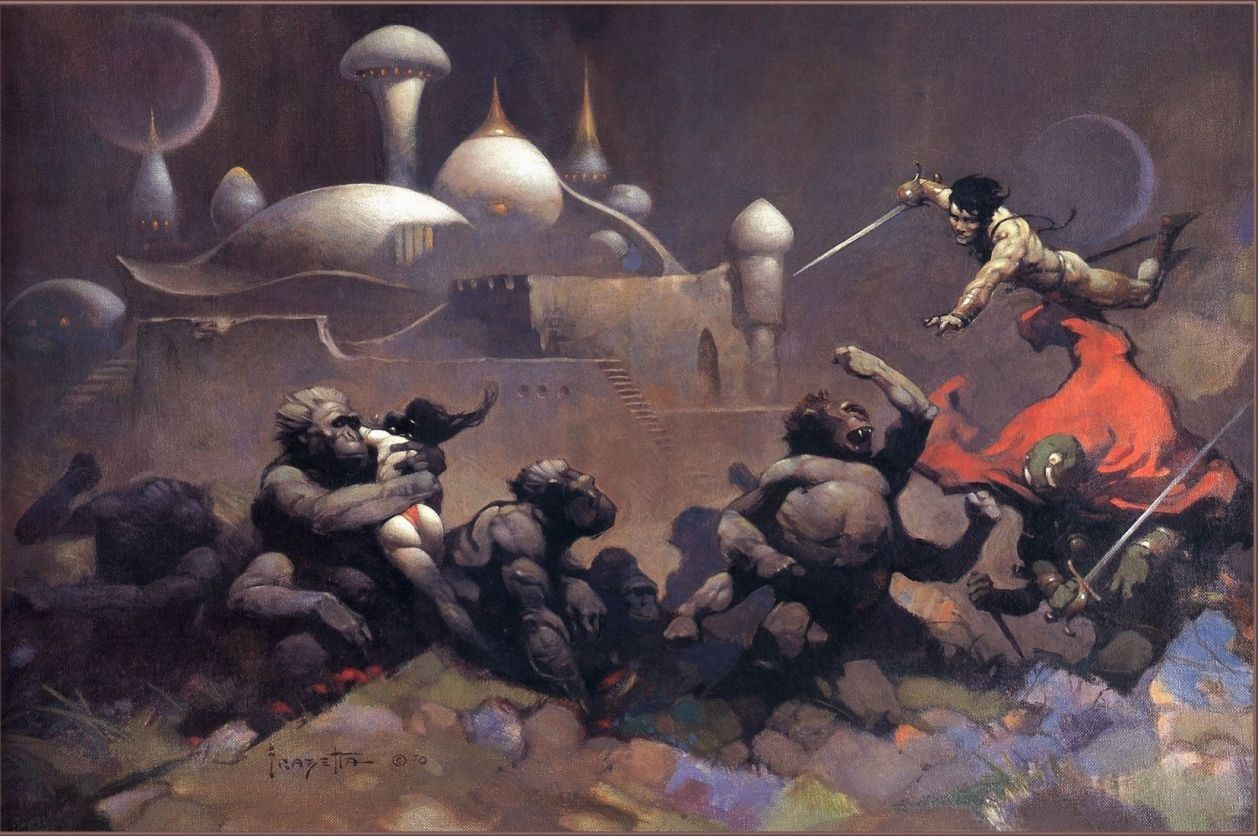 Frank Frazetta John Carter and the Savage Apes of Mars