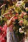 Garmash SURROUNDED BY FLOWERS painting