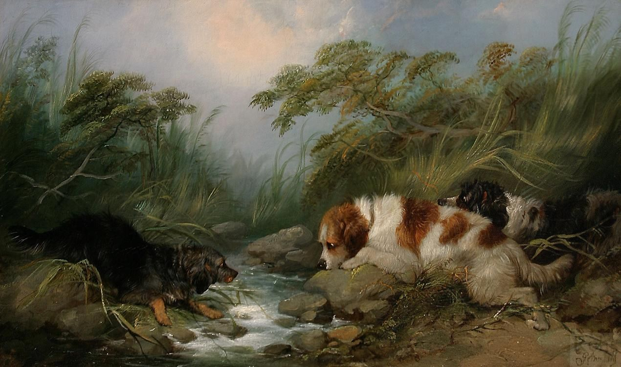 George armfield three dogs by a brook 50 off for Dog painting artist