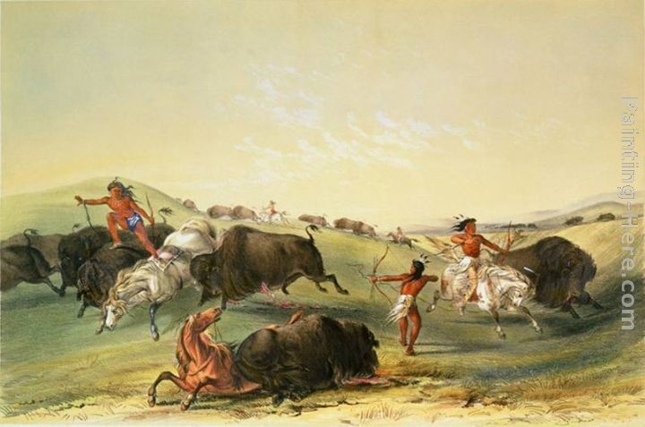 George catlin buffalo hunt plate 7 from catlin 39 s north for Art and appetite american painting culture and cuisine