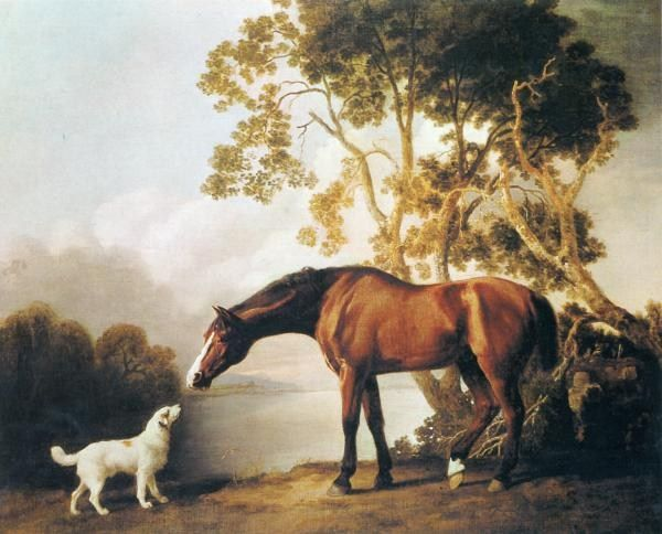 George Stubbs Bay Horse and White Dog