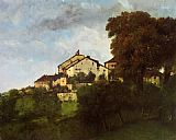 Gustave Courbet Houses on the hill painting
