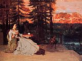Gustave Courbet Seated woman in the terrace painting