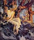 Maxfield Parrish Girl with Elves painting