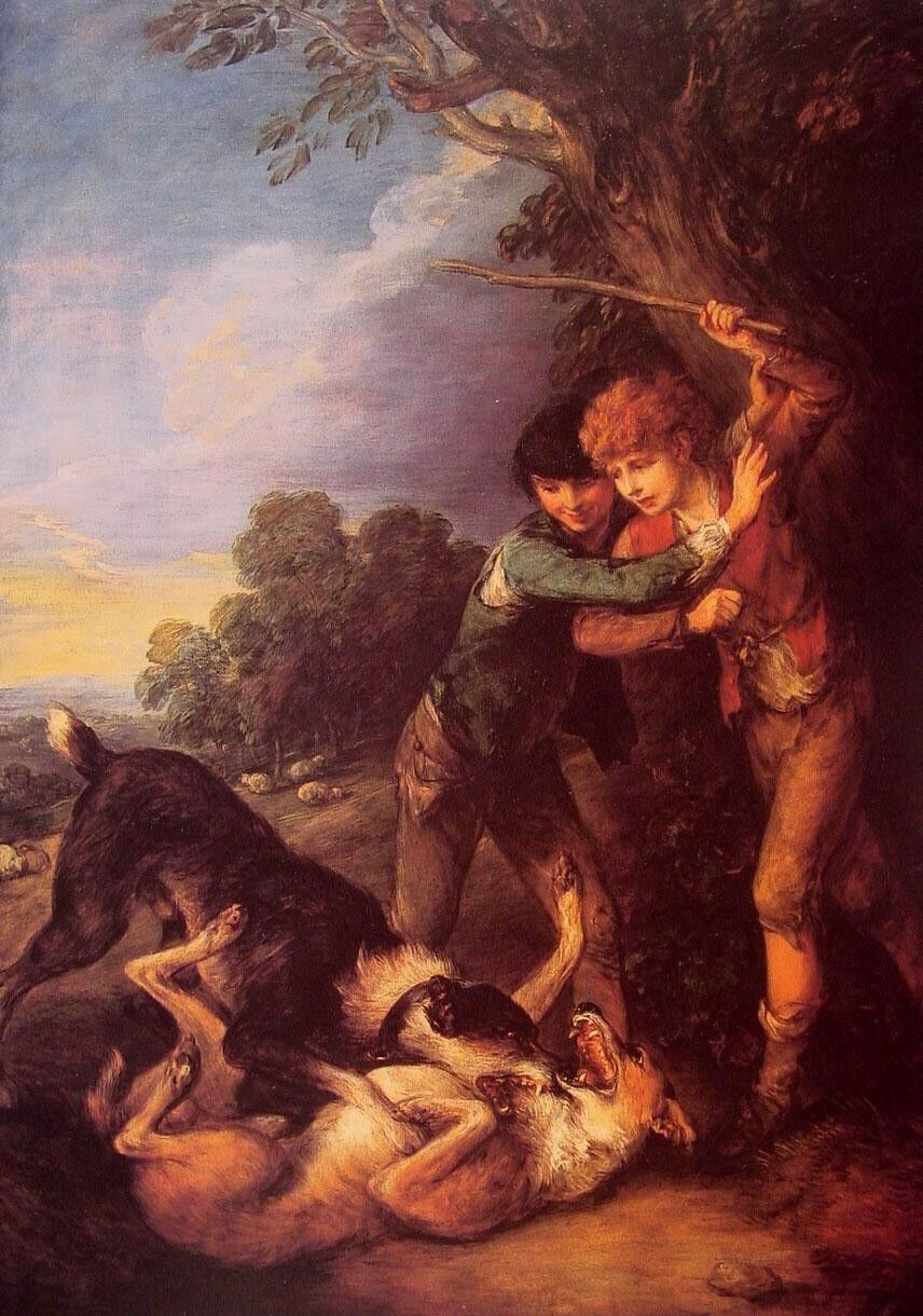 Thomas Gainsborough Shepherd Boys with Dogs Fighting