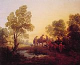 Thomas Gainsborough Evening Landscape Peasants and Mounted Figures painting