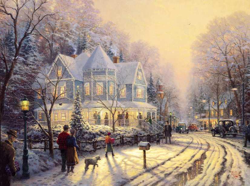 Thomas Kinkade Christmas Village 50% off - ArtExpress.ws
