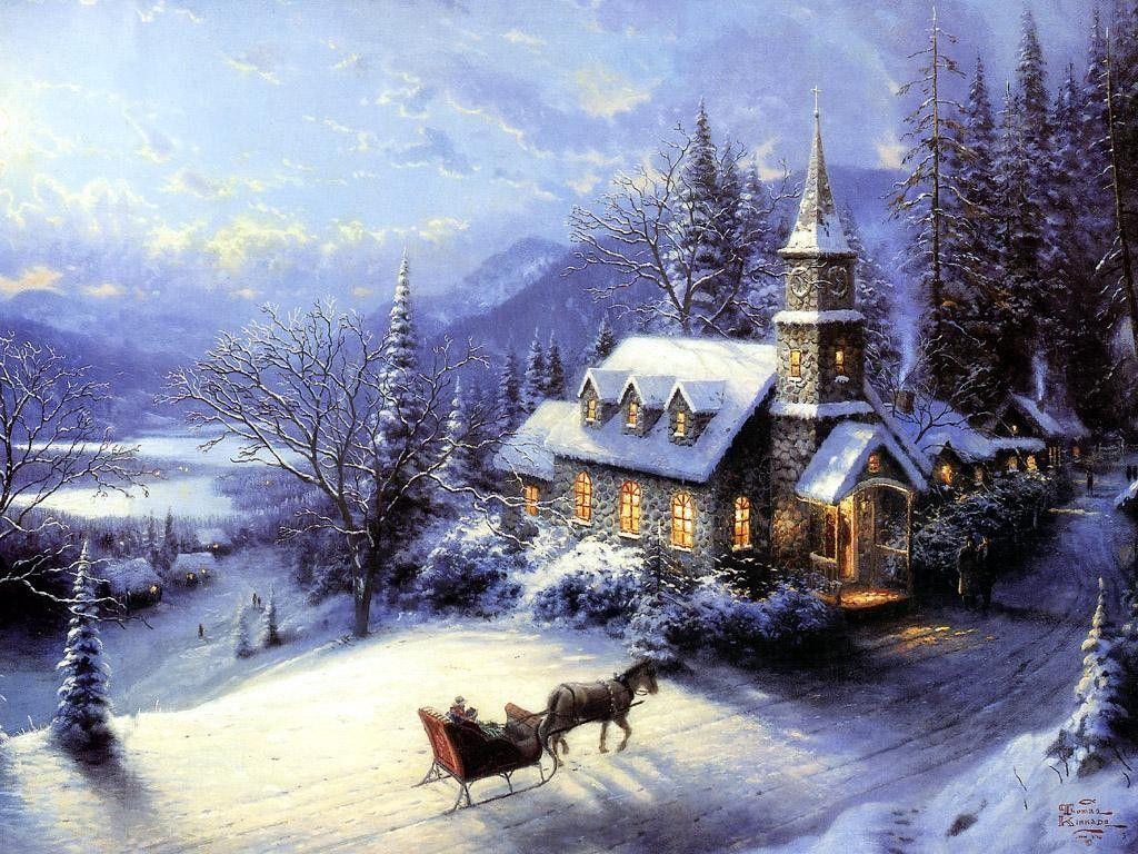 Images: Thomas Kinkade Christmas Village Painting