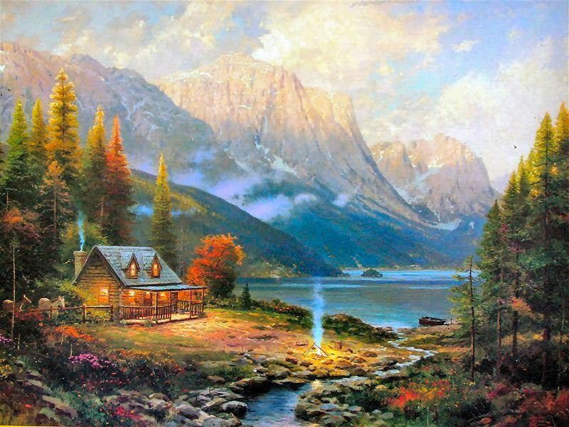 Thomas kinkade the beginning of a perfect day 50 off for Log cabin painting