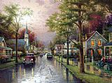 Thomas Kinkade HOMETOWN MORNING painting