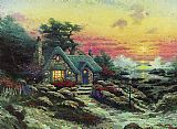 Thomas Kinkade cottage by the sea painting