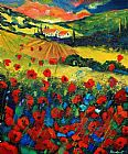 Unknown Poppies In Tuscany painting