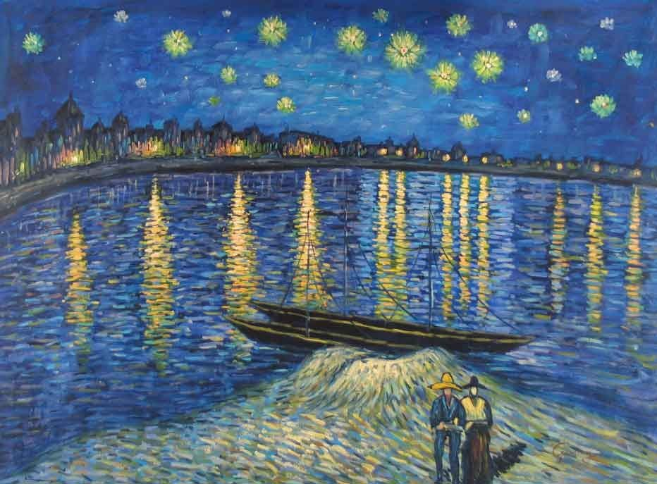 a critique of a starry night over the rhone an oil on canvas by vincent van gogh Vincent van gogh, starry night over the rhone, 1888, oil on canvas, 72 x 92 cm (musée d'orsay) technical challenges van gogh had had the subject of a blue night sky dotted with yellow stars in mind for many months before he painted the starry night in late june or early july of 1889.