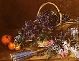A Still Life with a Basket of Flowers, Oranges and a Fan on a Table