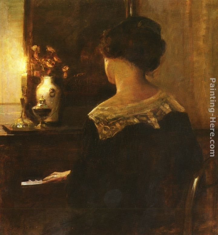 Carl Vilhelm Holsoe A Lady Playing The Piano