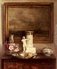Carl Vilhelm Holsoe Still Life with Classical Column and Statue painting