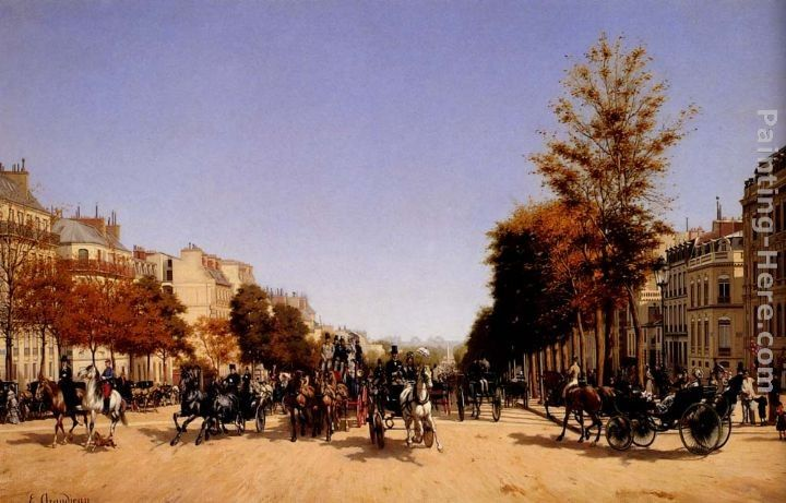 Edmond Grandjean View Of The Champs-Elysees From The Place De L'Etoile