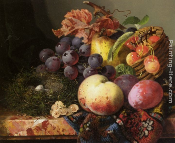 Edward Ladell Still Life with Birds Nest and Fruit