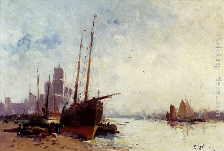 Eugene Galien-Laloue Shipping In The Docks