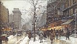 Eugene Galien-Laloue A Busy Boulavard Under Snow at Porte St. Martin, Paris painting