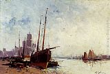 Eugene Galien-Laloue Shipping In The Docks painting