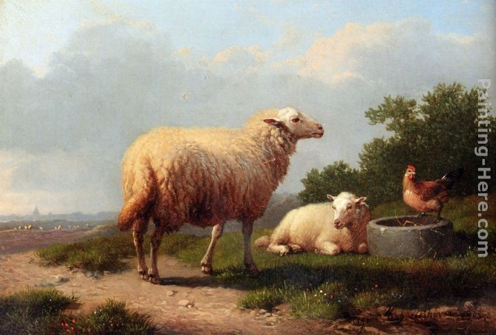 Eugene Verboeckhoven Sheep In A Meadow