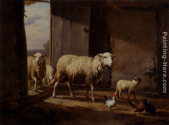 Eugene Verboeckhoven Sheep Returning From Pasture