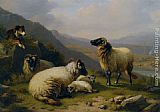 Eugene Verboeckhoven Sheep dog guarding his flock painting