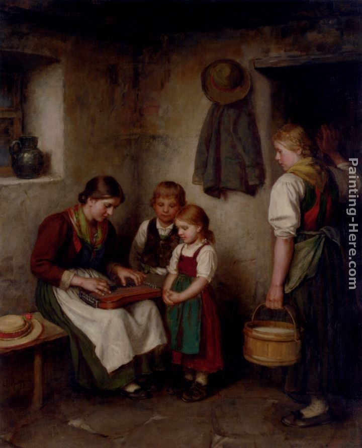Franz Von Defregger The Music Lesson