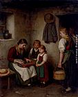 Franz Von Defregger The Music Lesson painting