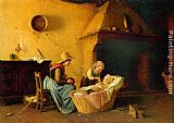 Gaetano Chierici Feeding the Baby painting