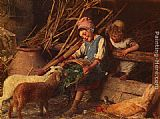 Gaetano Chierici Feeding the Lambs painting