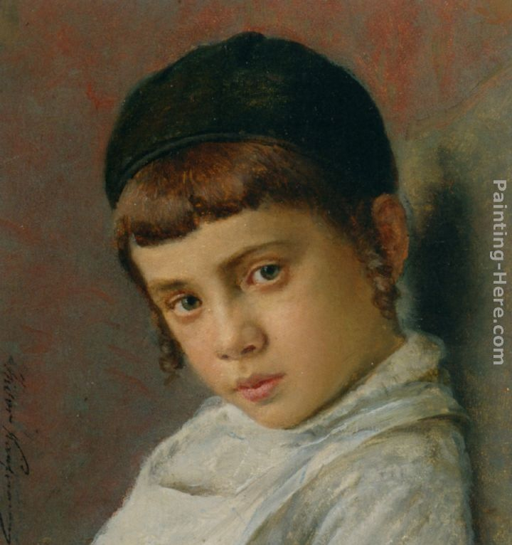 ... Kaufmann Paintings - Portrait of a Young Boy with Peyot Painting
