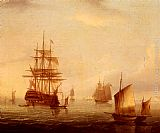 James E. Buttersworth Sailing Vessels Off A Coastline painting