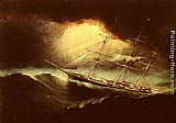 James E. Buttersworth Ship In A Storm painting