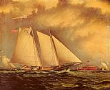 James E. Buttersworth Yachting Off Castle Garden painting