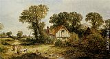James Edwin Meadows Childrem by a Country Cottage painting