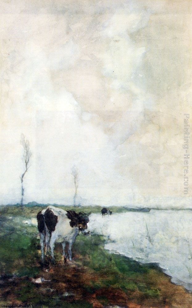 Jan Hendrik Weissenbruch A Cow Standing By The Waterside In A Polder