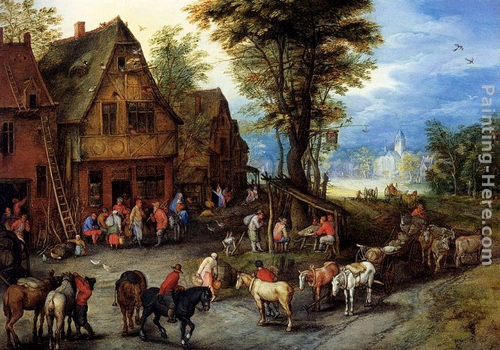 Jan the elder Brueghel A Village Street With The Holy Family Arriving At An Inn
