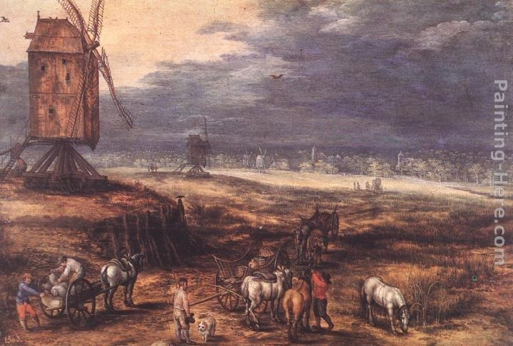 Jan the elder Brueghel Landscape with Windmills