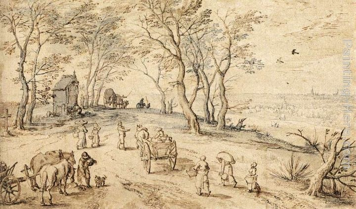 Jan the elder Brueghel Villagers on their Way to Market