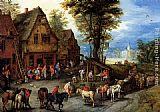 Jan the elder Brueghel A Village Street With The Holy Family Arriving At An Inn painting