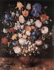 Jan the elder Brueghel Bouquet in a Clay Vase painting