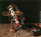 Jan the elder Brueghel Still-Life with Garland of Flowers and Golden Tazza painting