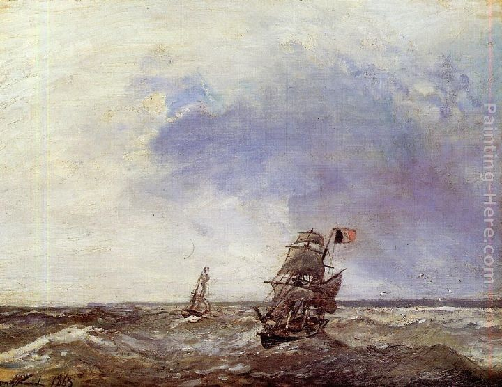 Johan Barthold Jongkind Ships at Sea