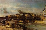Johan Barthold Jongkind Fire on Pont Neuf painting
